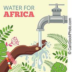 Water for africa Vector flat illustration