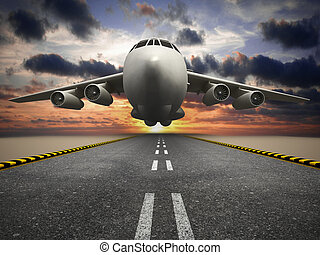 Passenger or cargo airplane taking off at sunset