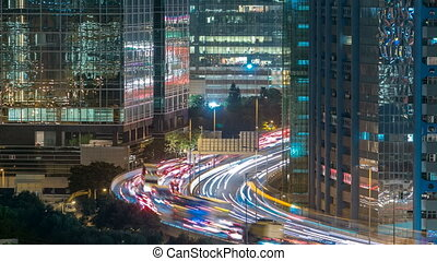 Top view of busy traffic night in finance urban timelapse,...