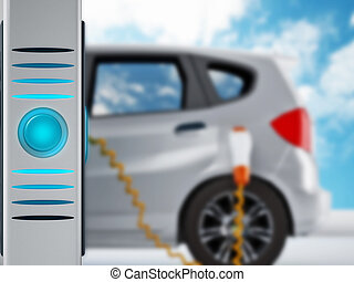 Electric car in charging station - Electric car plugged in a...