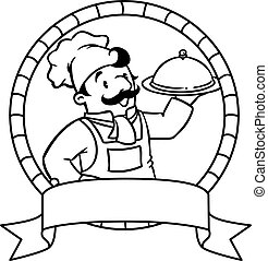 Funny cook or chief. Coloring book. Emblem