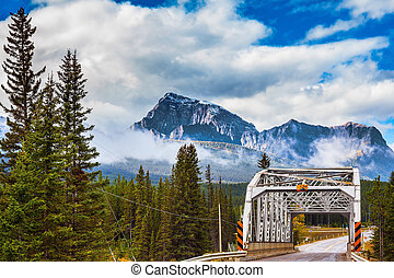 Road bridge in the reserve Canadian Rocky Mountains, Jasper...