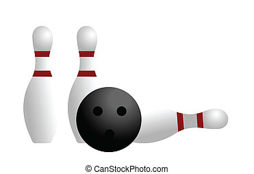 Realistic illustration ball and pin of bowling