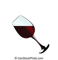 A glass of red wine of isolated on a white background Vector...