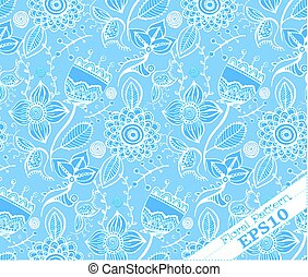 Repeating Floral Background Pattern.Blue and white