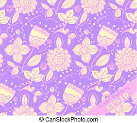 Repeating Floral Pattern. Purple and yellow