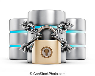 Network security concept, a padlock chained to the data...