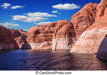 Scenic water basin of the Colorado River - Walk on the boat...