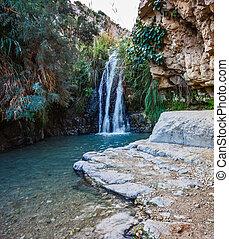 Beautiful waterfall and small scenic lake