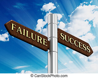 Success and failure road signs