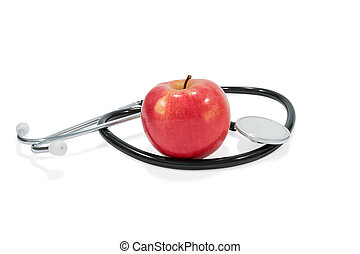 Apple and stethoscope - Ripe red apple with a tail and a...
