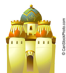 castle - Islamic gold castle isolate on the white background