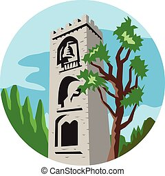Medieval Bell Tower Circle Retro - Illustration of a...