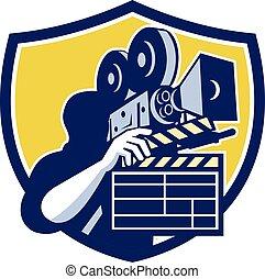 Cameraman Vintage Movie Camera Clapboard Shield Retro -...