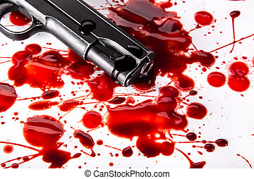 Murder concept - gun with blood on white background,...