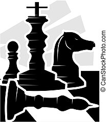 chess pieces - Illustration of silhouette of chess pieces
