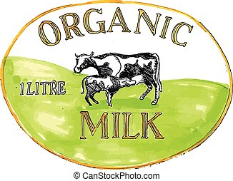 Cow Organic Milk Label Drawing - Drawing sketch style...