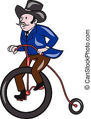 Gentleman Riding Penny-farthing Cartoon - Illustration of a...