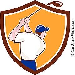 Golfer Swinging Club Crest Cartoon
