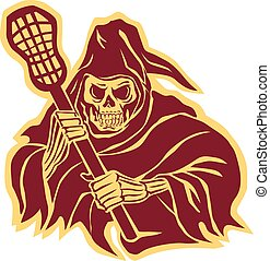 Grim Reaper Lacrosse Defense Pole Retro - Illustration of...