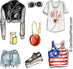 Spring Fashion in NY style Hand drawn images