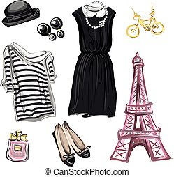 Spring Fashion in Paris style Hand drawn image