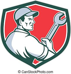 Mechanic Holding Monkey Wrench Shield Retro - Illustration...