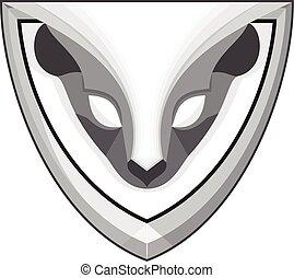 Skunk Head Front Shield Retro - Illustration of a skunk head...