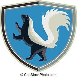 Skunk Prancing Side Crest Retro - Illustration of a skunk...
