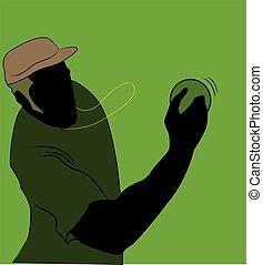 cricket player - Illustration of silhouette of cricket...