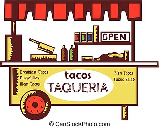 Taco Stand Taqueria Stand Woodcut - Illustration of a taco...