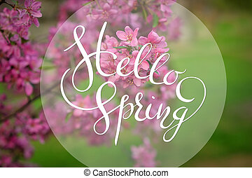 Blossoming apple-tree on background of green grass with letters Hello sprint