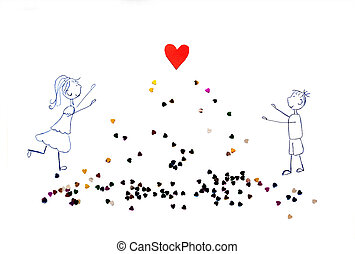 illustration of girl and boy pulling his hands to red heart