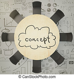 Brainstorm concept with round wooden table and eight balck...