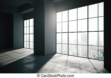 Empty loft interior with large windows backlit, 3d render