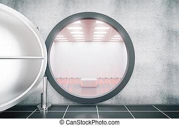 Open the door of an empty bank safe, 3d render