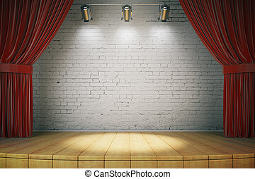 Wooden stage with red curtains and a white brick wall with...