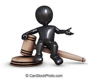 3D Morph Man with gavel - 3D Render of Morph Man with gavel