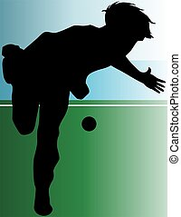 cricket player - Illustration of silhouette of