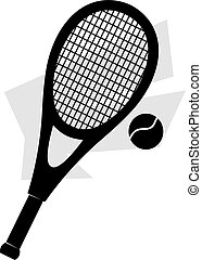 tennis racket and ball - Illustration of silhouette of a...