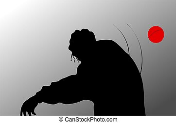 Sports - Illustration of silhouette of cricket player