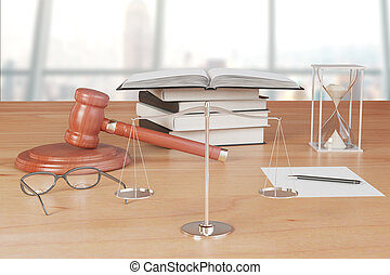 Truth scales with gavel, books and hourglass on wooden table