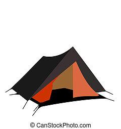 観光客, テント, 隔離された, 白, 背景