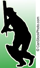 cricket batsman - Illustration of silhouette of a cricket...
