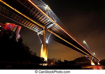 Hong Kong night, Ting Kau Bridge