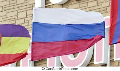 flag of the Russian Federation develops in the wind