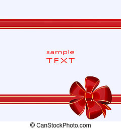 Christmas bow decoration on box - vector