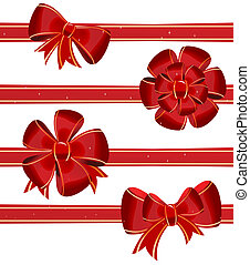 Christmas bow decoration - vector