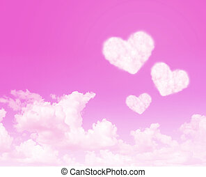 Heart cloud on pink sky abstract background. Love concept-2...