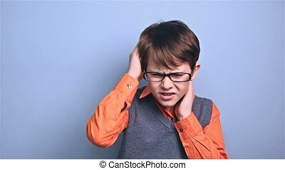 boy with glasses schoolboy migraine headaches school - boy...